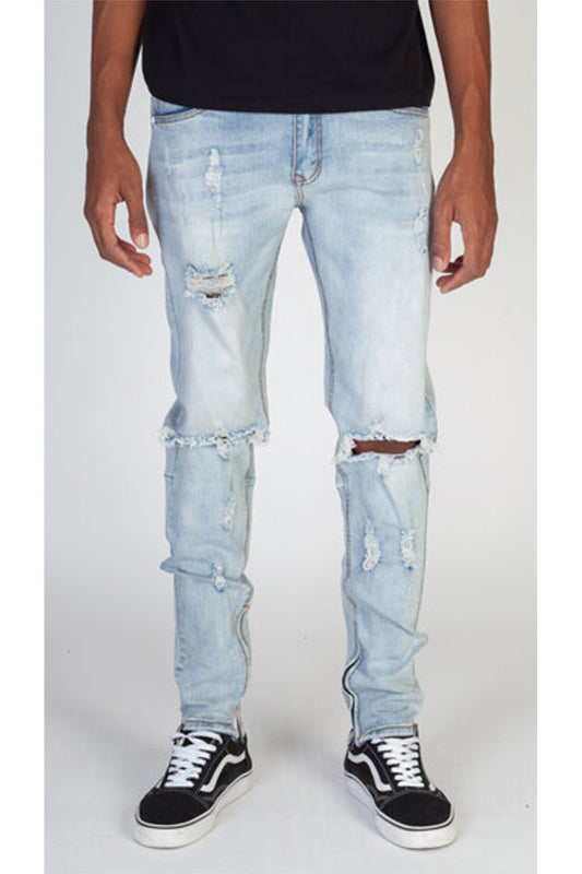 Destroyed Knee Ankle Zip Jeans