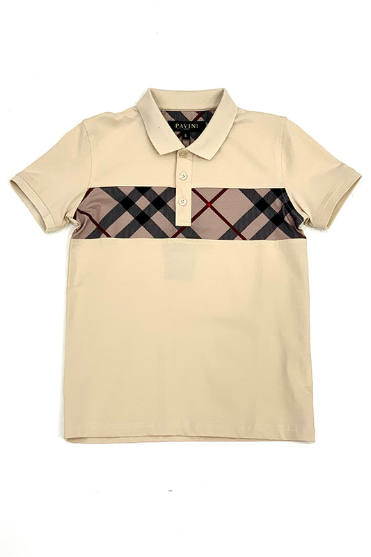 Plaid Center Stripe Short Sleeve Polo