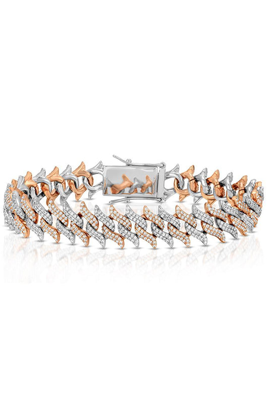 Two Tone Diamond Spiked Laurel Cuban Bracelet Rose Gold and White Gold