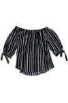 Striped Off Shoulder Tie Sleeve Long Sleeve Top