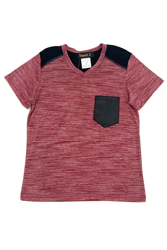 Heathered PU Contrast Pocket V-Neck T-Shirt