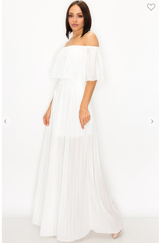 Off The Shoulder Pleated Maxi Dress