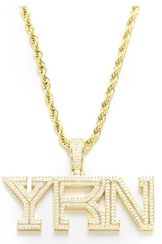 YRN Pendant with Rope Chain Gold