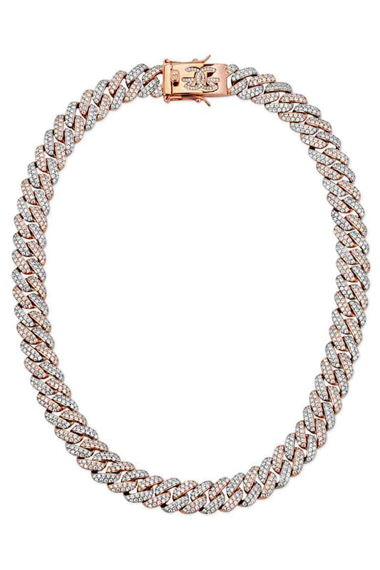 Two Tone Cuban Chain Necklace White Gold and Rose Gold