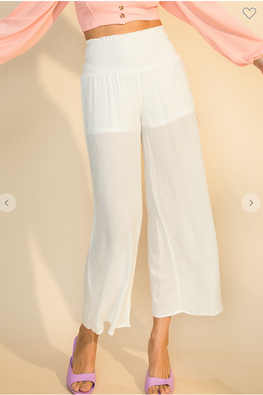 Smocked Waist Wide Leg Culottes