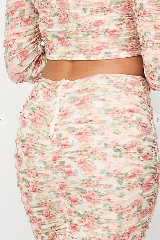 Floral Mesh Ruched Mini Skirt