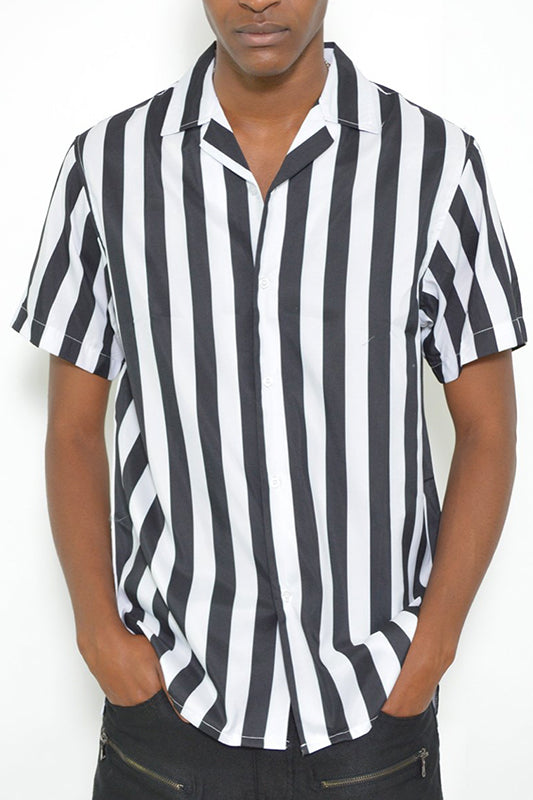 Referee Stripe Short Sleeve Button Up
