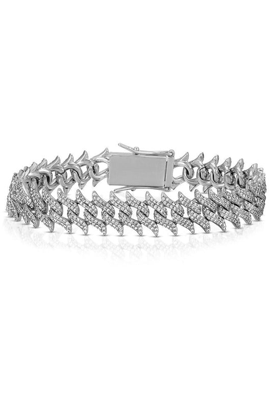Diamond Spiked Laurel Cuban Bracelet White Gold
