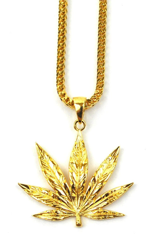 Marijuana Leaf Pendant Necklace Gold