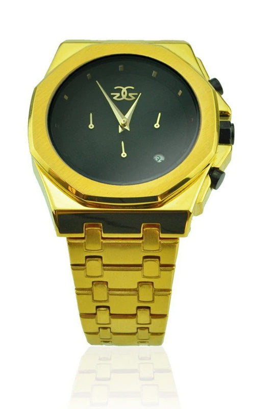 Octavius Chrono Watch in Gold with Black Face
