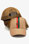 Striped Front Geometric Pleather Snapback