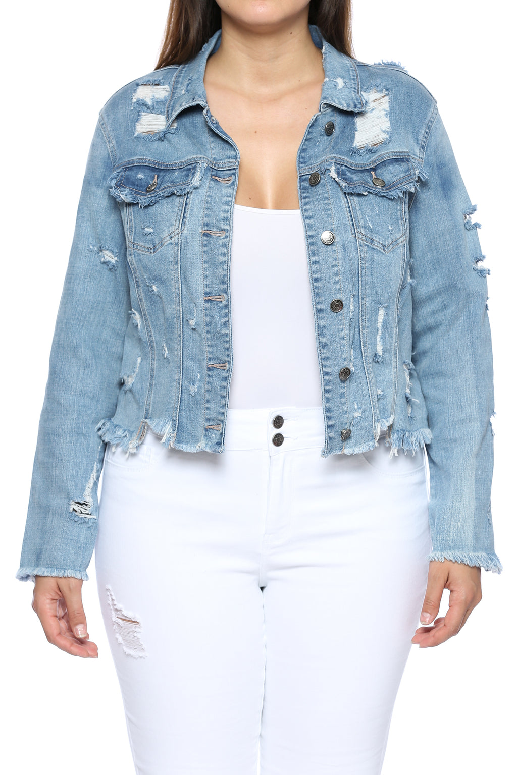 Mega Distressed Raw Hem Crop Denim Jacket Plus Front