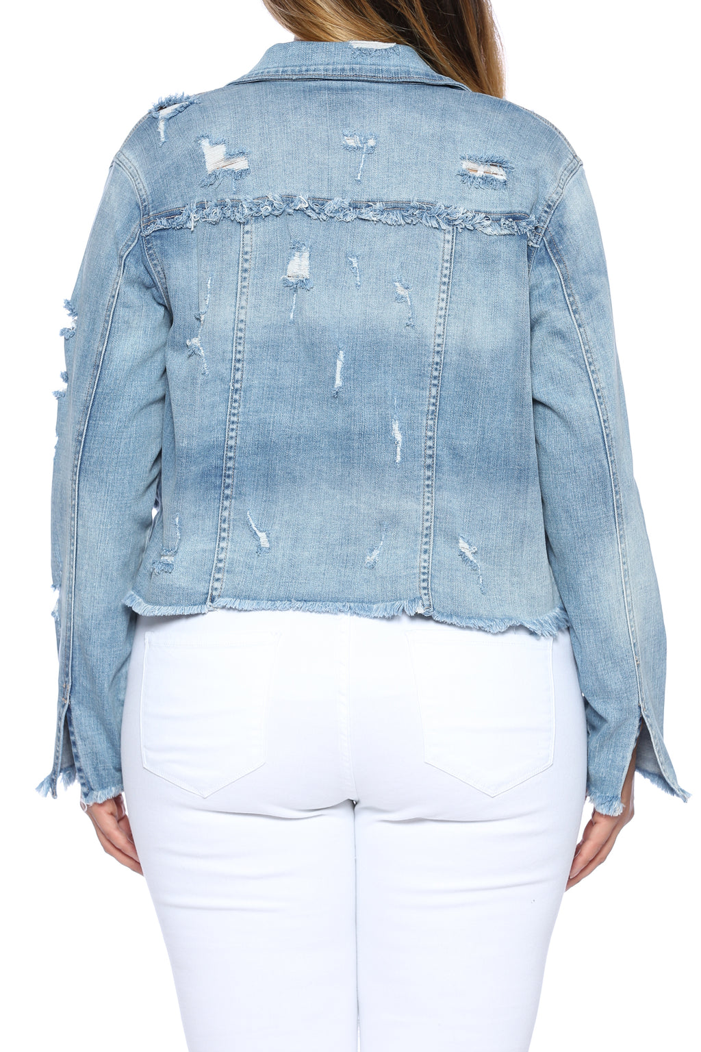 Mega Distressed Raw Hem Crop Denim Jacket Plus Back