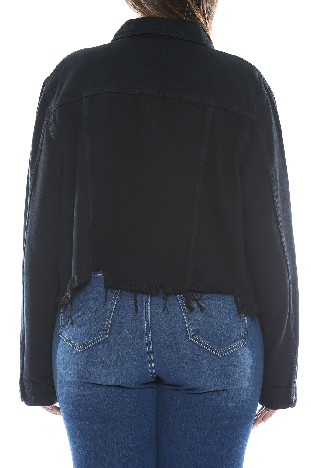 Uneven Frayed Hem Denim Jacket Black Back