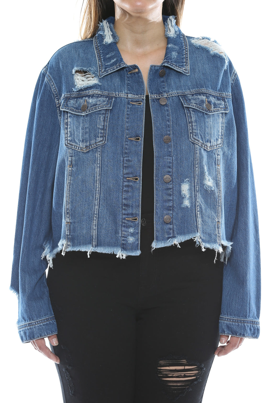 Uneven Frayed Hem Dark Denim Jacket Front