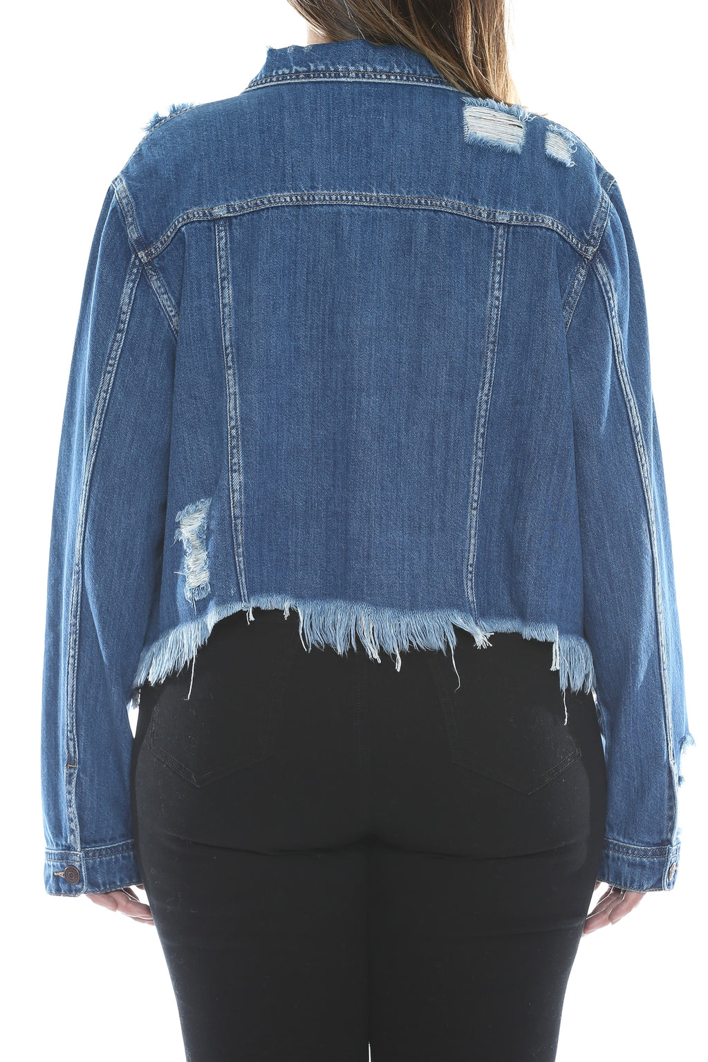 Uneven Frayed Hem Dark Denim Jacket Back