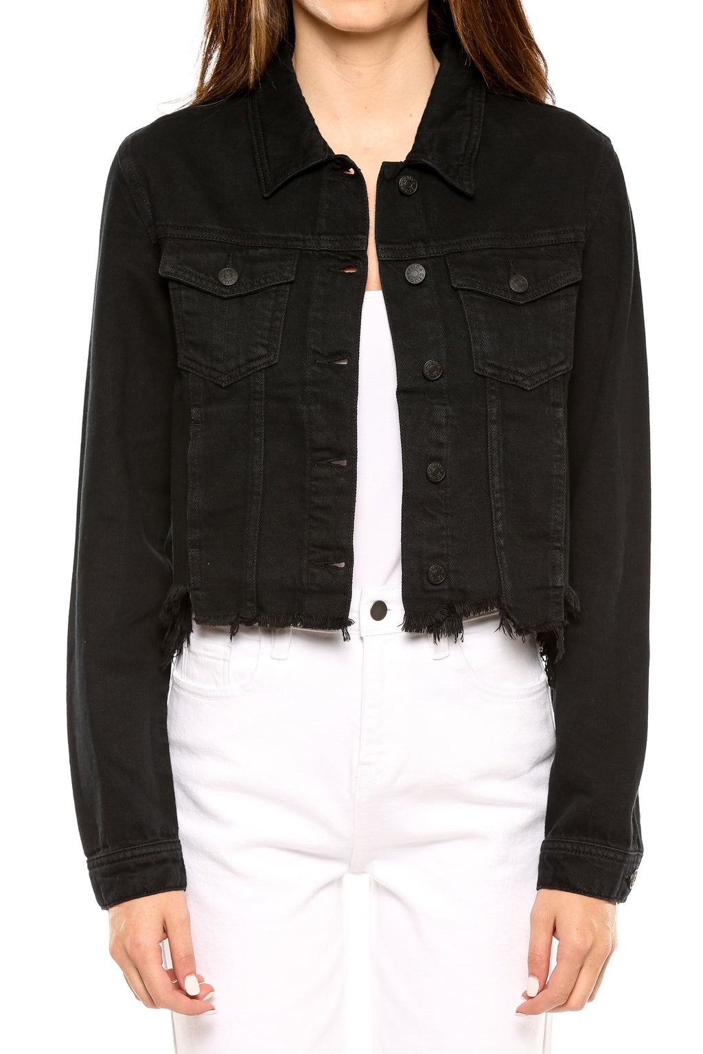 Uneven Frayed Hem Denim Jacket Black Front