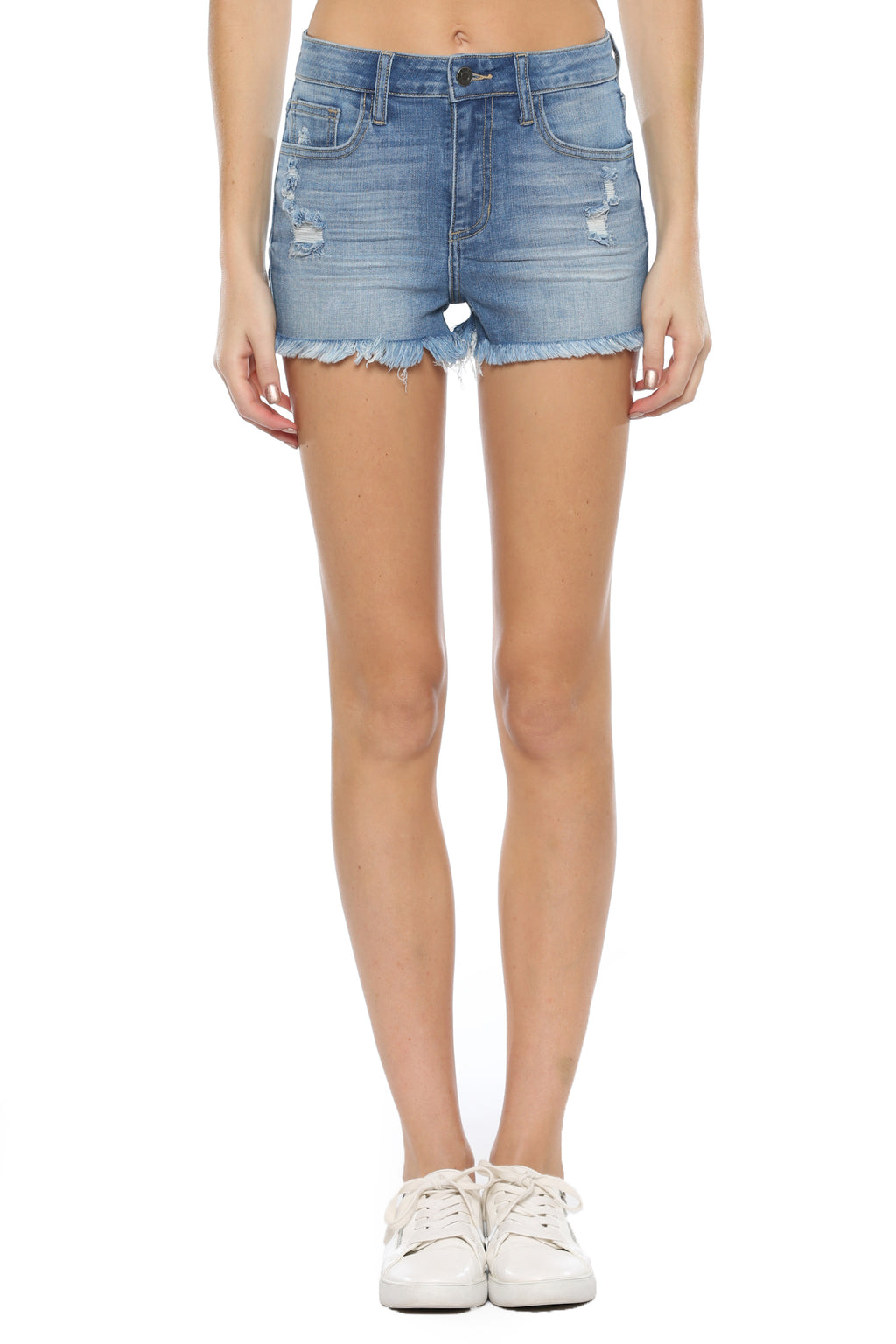 High Rise Destroy Straight Fray Hem Denim Shorts