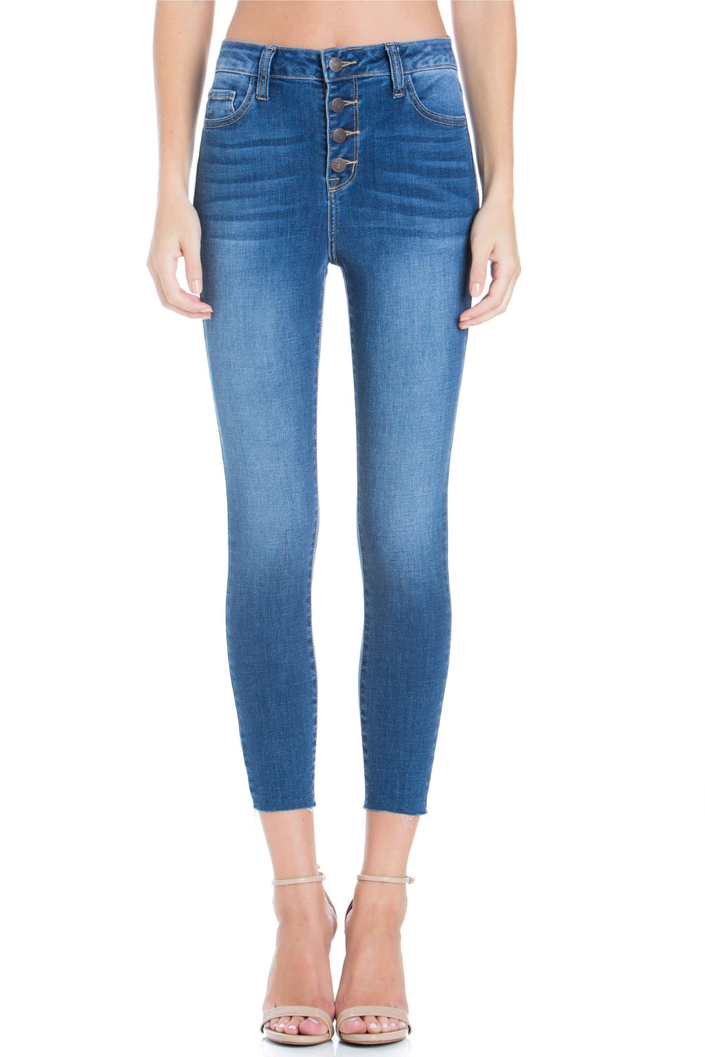 High Rise Exposed 4-Button Crop Skinny