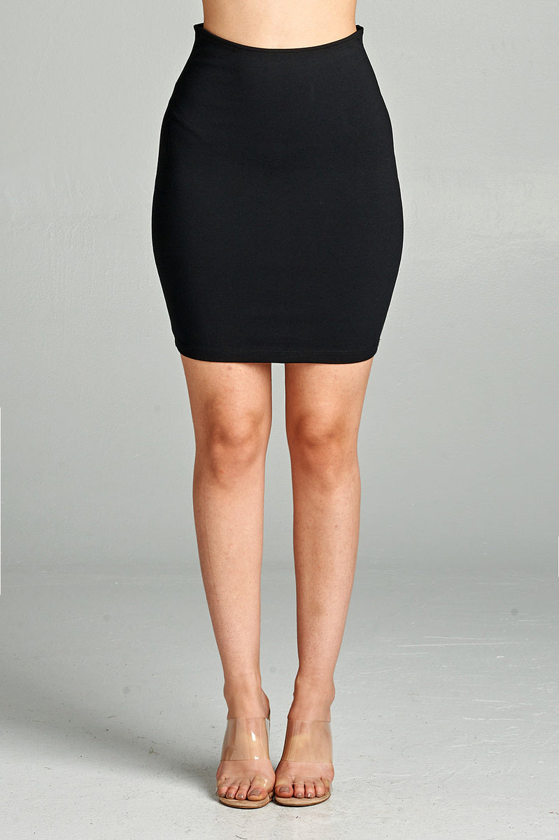 Solid Fitted Mini Ponte Skirt Front Black