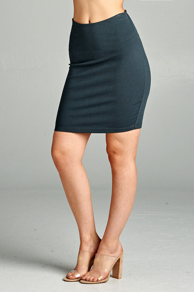 Solid Fitted Mini Ponte Skirt Front SlateGray