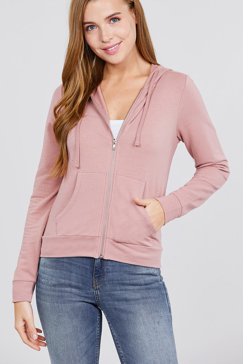 Solid Zip-Up Hoodie with Pockets Jacket