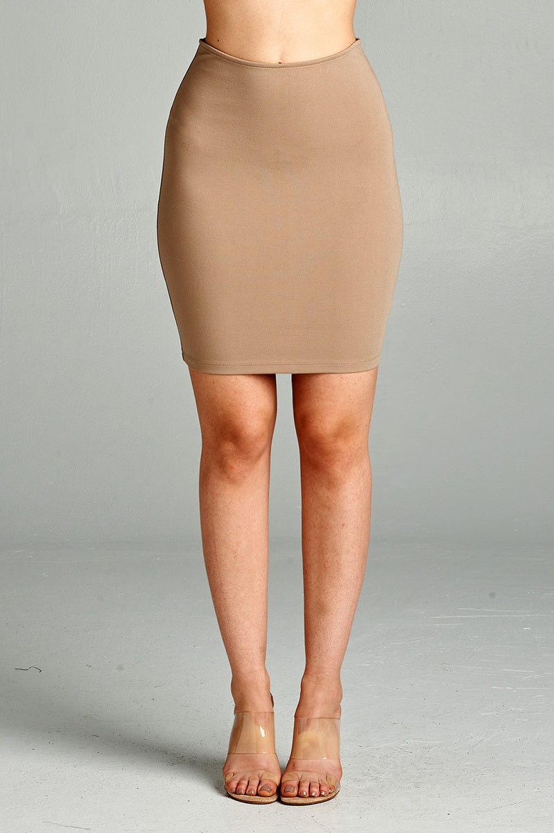 Solid Fitted Mini Ponte Skirt Front BurlyWood