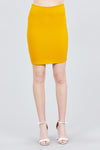 Solid Fitted Mini Ponte Skirt Front Gold