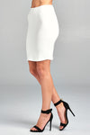 Solid Fitted Mini Ponte Skirt Front White