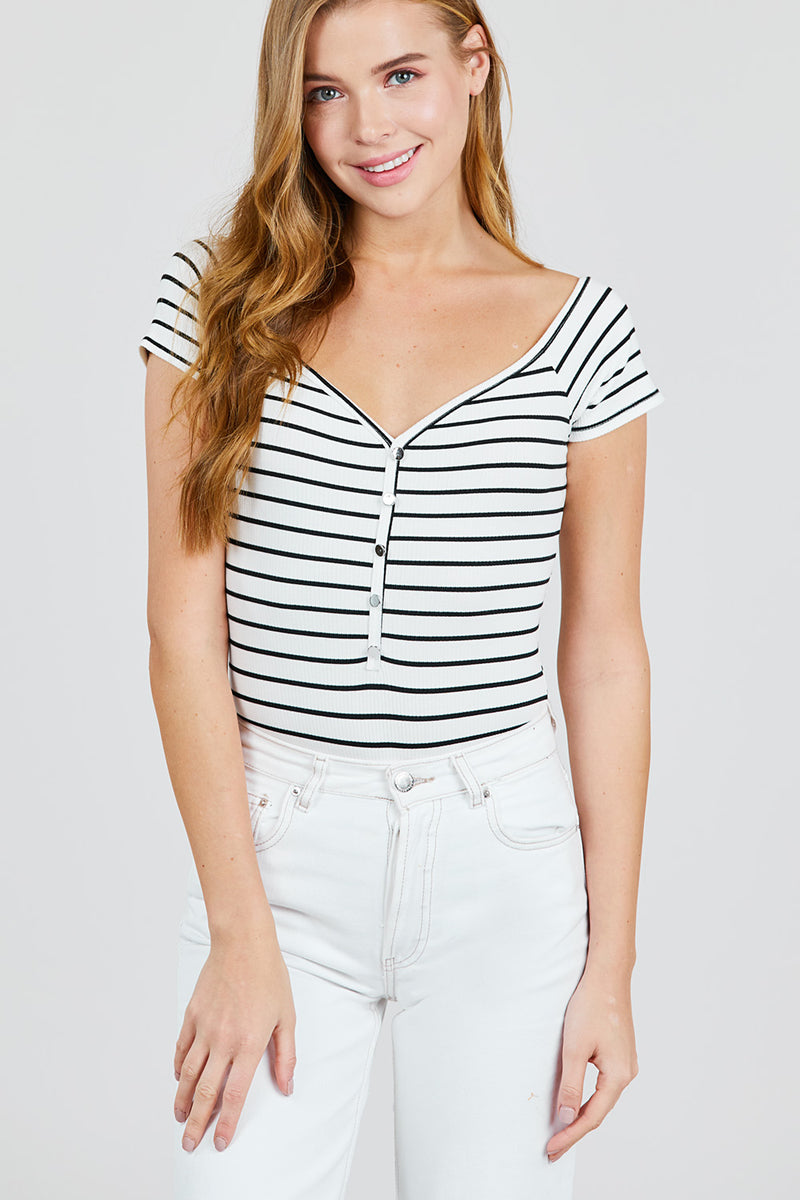Stripe Off Shoulder Button Short Sleeve Bodysuit