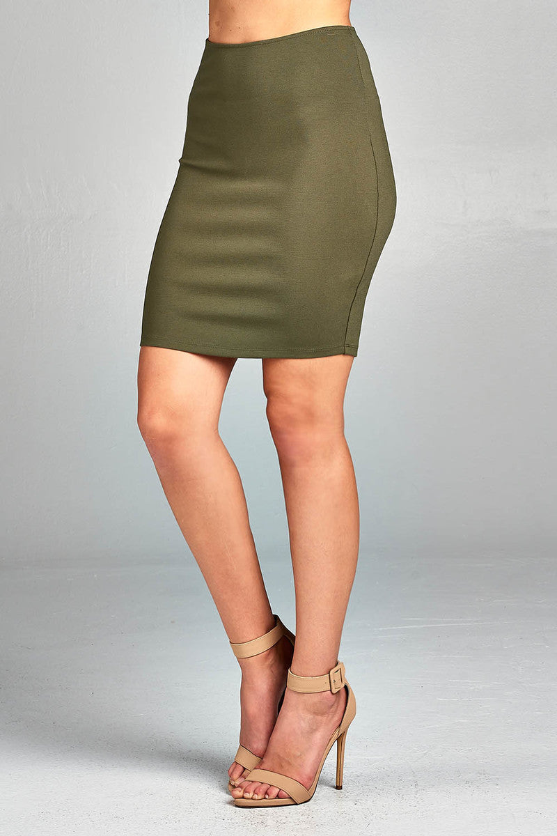 Solid Fitted Mini Ponte Skirt Front Olive