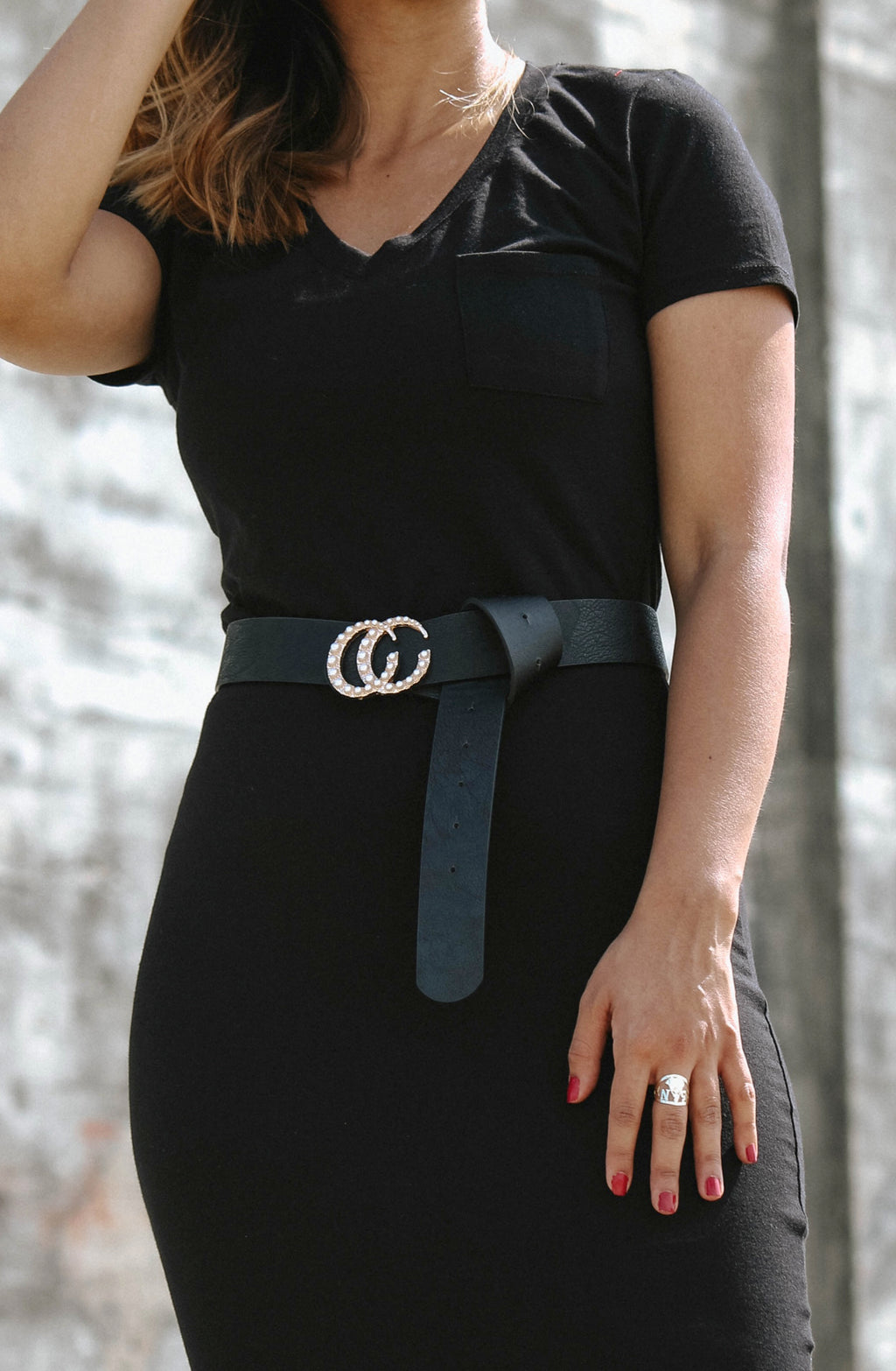 Pearl Encrusted CC Belt Black Styling