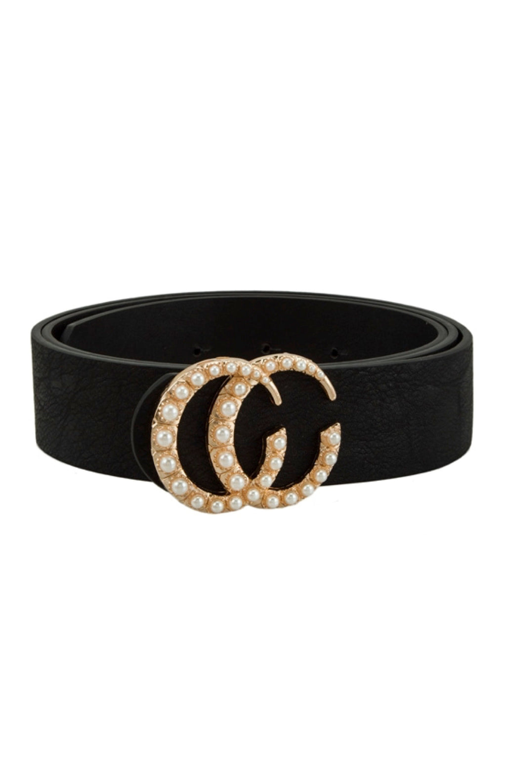 Pearl Encrusted CC Belt Black