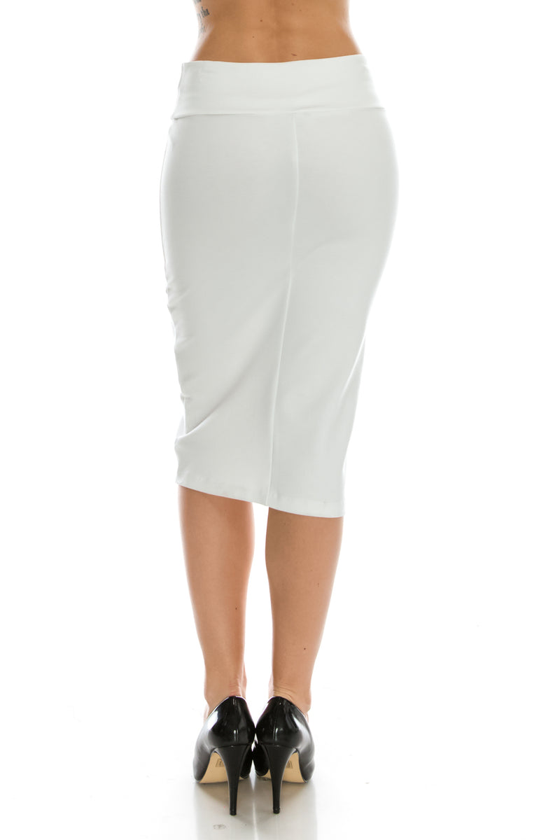 Criss Cross Detail Pencil Skirt Back Black
