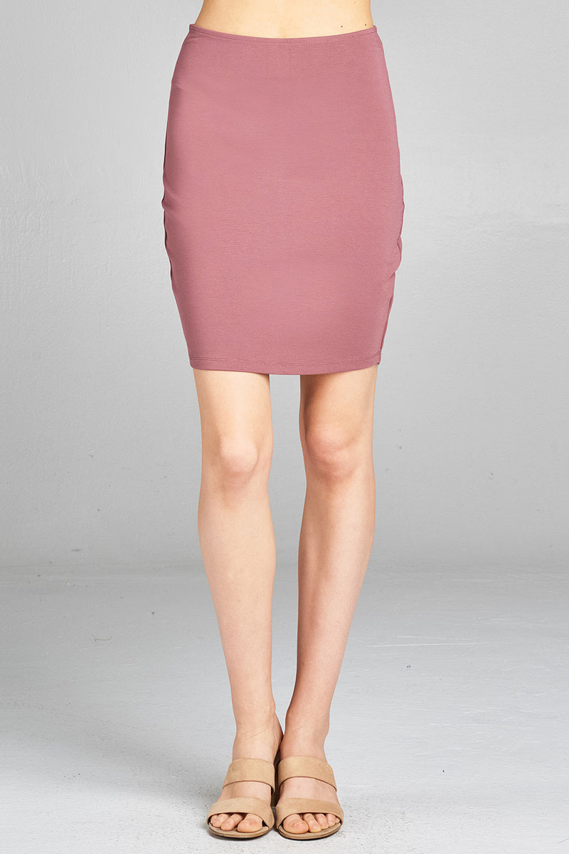 Solid Fitted Mini Ponte Skirt Front LightCoral