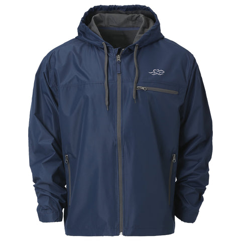 Lightweight navy polyester full zip hooded rain jacket with charcoal colored accent zippered chest pocket and EMBRACE THE RACE icon on left chest.