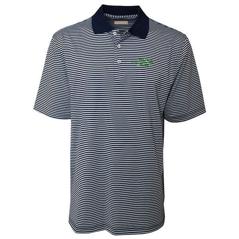 Navy and gray standard bar stripe performance polyester polo with an navy knit collar.  Open sleeve and hem.  EMBRACE THE RACE icon on the left chest in kelly green.