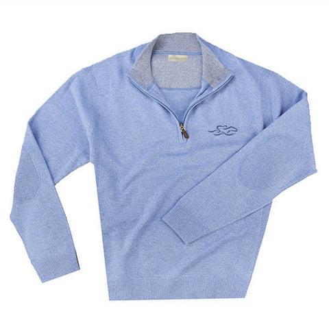 A lake blue cashmere half zip sweater with EMBRACE THE RACE logo embroidered on left chest.