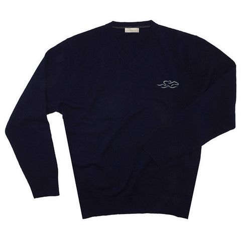 A navy v neck cashmere long sleeve sweater with EMBRACE THE RACE logo embroidered on the left chest.