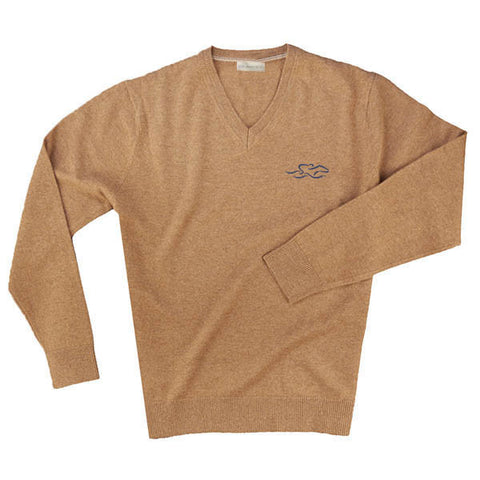 A tan v neck cashmere long sleeve sweater with EMBRACE THE RACE logo embroidered on the left chest.