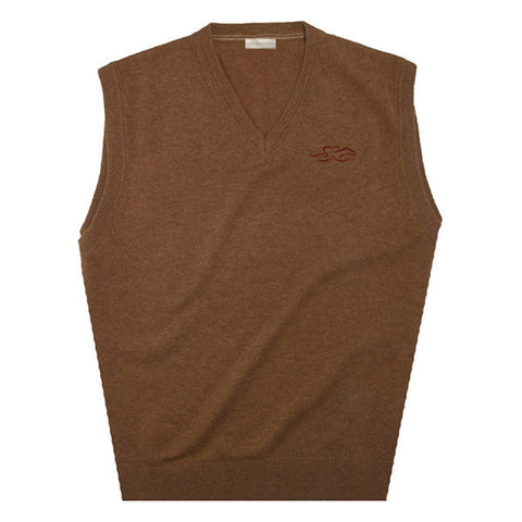 A tan v neck cashmere sweater vest with EMBRACE THE RACE logo embroidered on the left chest.