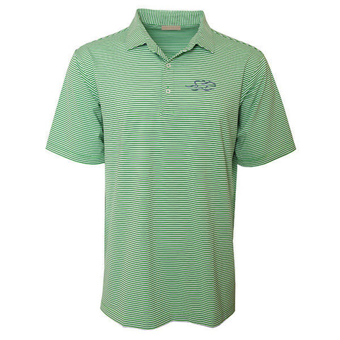 Emerald green and white stripe polo with thin navy pinstripe.  Matching tailored collar.  Open sleeve and hem.  EMBRACE THE RACE icon embroidered on the left chest in navy