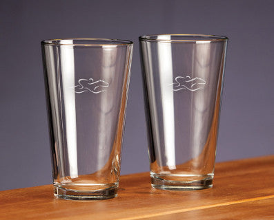 A set of 16 ounce durable glass ale glasses beautifully etched with the EMBRACE THE RACE icon.