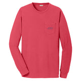 A long sleeve melon colored cotton t shirt with EMBRACE THE RACE horse icon center front and full logo across the back.