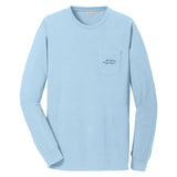 A long sleeve light blue cotton t shirt with EMBRACE THE RACE horse icon center front and full logo across the back.