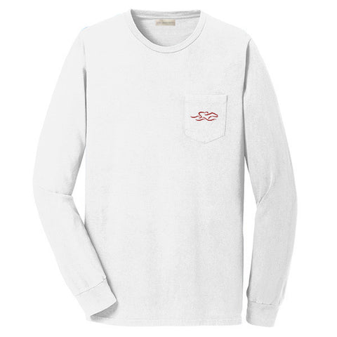 A long sleeve white cotton t shirt with EMBRACE THE RACE horse icon center front and full logo across the back.