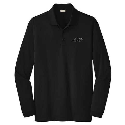 A classic long sleeve black pique polo with the EMBRACE THE RACE logo embroidered on the left chest
