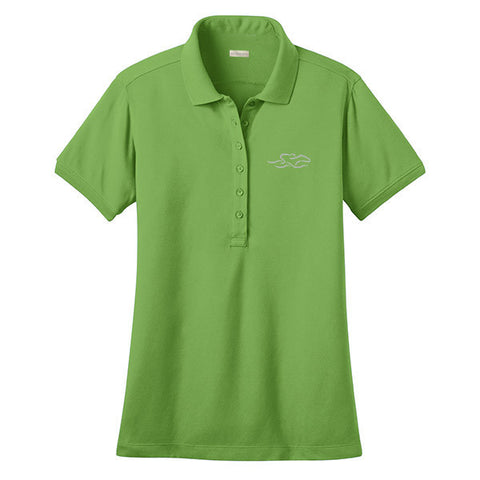 A classic stretch performance polo in green with the EMBRACE THE RACE logo embroidered on left chest.