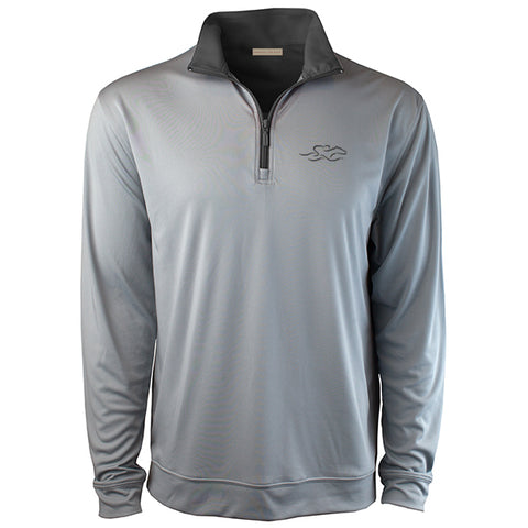A silver gray performance stretch pullover with a charcoal colored contrast neck and zipper.  Charcoal colored EMBRACE THE RACE icon on the left chest to match.
