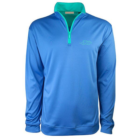 A nautical colored performance stretch pullover with an aqua colored contrast neck and zipper.  Aqua EMBRACE THE RACE icon on the left chest to match.